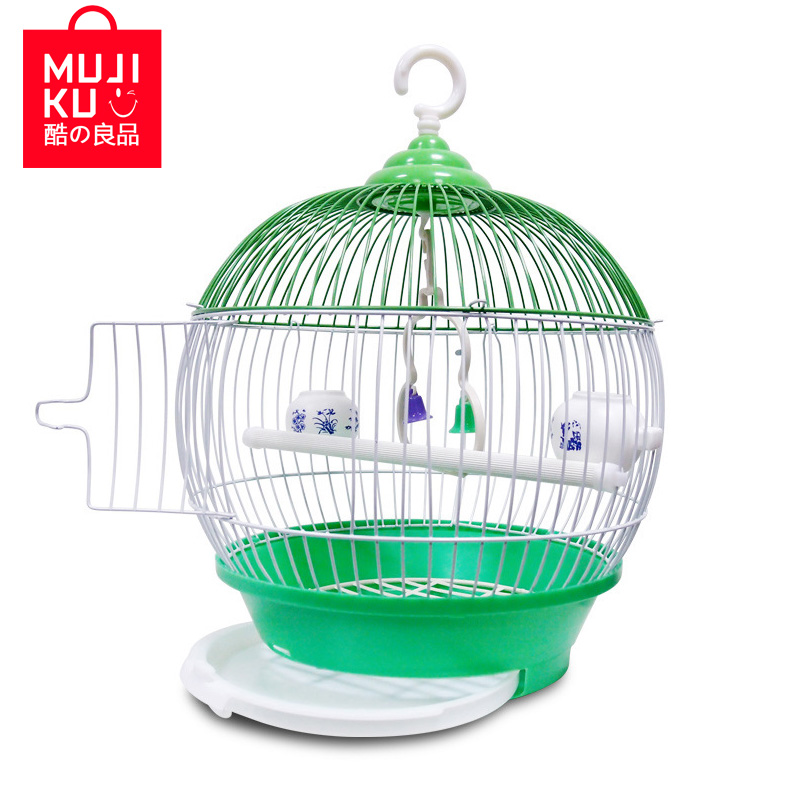 MUJIKU Equipped Standing Stick Food Window Handles Trays Bird Cage Bird House Shape Parrot Cage Aviculture Tool Pet Supplies