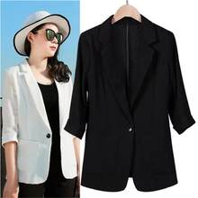 Women Blazers NEW Casual summer thin cotton and linen Slim seven-sleeved linen Plus Size 7XL Work Wear professional suit(China)