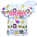 2017 Emoji T shirt for Girls Kids 3D Cartoon Print Clothing Short Sleeve Lovely Funny Girl T-shirts Tops for Boys Girls YA304