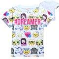 2017 Emoji camiseta para Niñas Niños de Dibujos Animados en 3D de Impresión Ropa Divertido Encantador de La Muchacha Camisetas de Manga corta Tops para Niños Niñas YA304