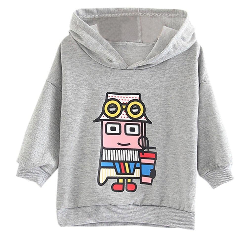2018 Casual Pullover Hohe Qualität Kleinkind Baby Kind Mädchen Cartoon Roboter Drucken Mit Kapuze Pullover Sweatshirt Tops Quell Sommer Durst