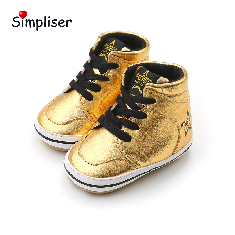 Baby Sneakers High Top Newborn Baby Girls Boys Leather First Walkers White Black Gold 0-18M Infant Toddler Shoes Booties Baby(China)