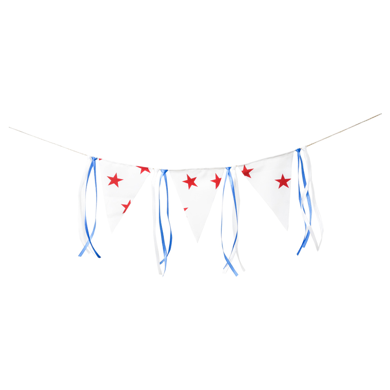 Star Pennant Banner Colorful Ribbon Banner Birthday Party Baby Shower Flag Chair Nursery Garland Candy Bar Decoration