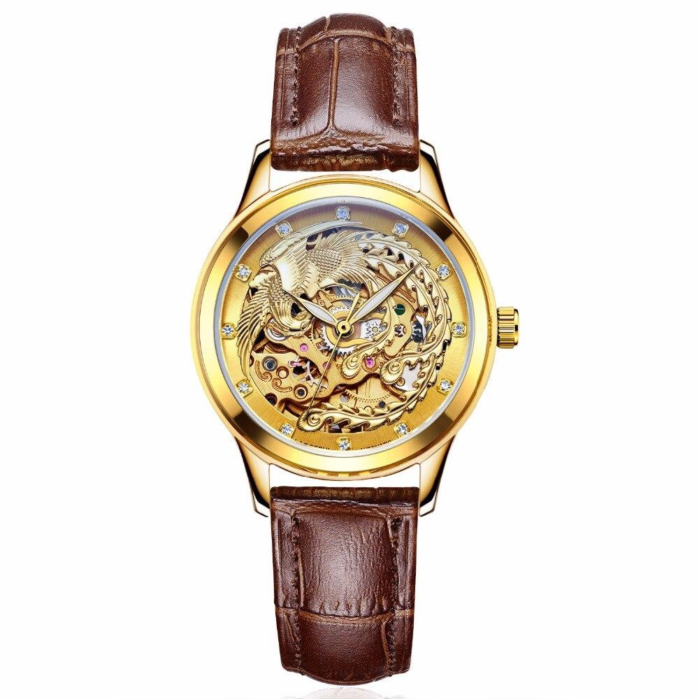 Luxury Brand Watches Women Automatic Mechanical Watches For Woman Gold Phoenix Mechanical Watch Waterproof  Senhoras Assistir