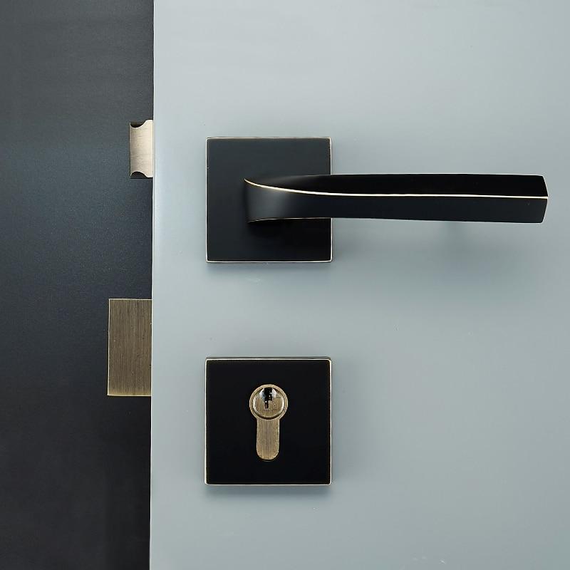 one Set/Square shape brass Door Lock simple Style Retro Bedroom Door Handle Lock Interior Anti-theft Room Safety Door Lock цены