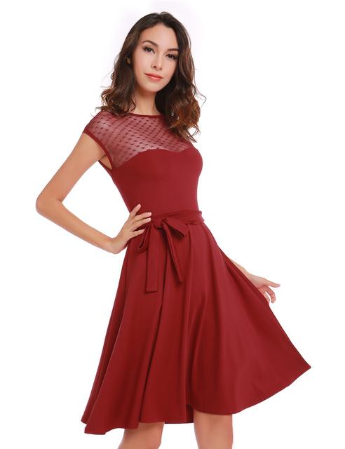Heart Pattern Gauze Mesh Summer Dress Patchwork Swing Cocktail Bow Belt Women Little Black Dress 2017 Fashion Women Clothing New