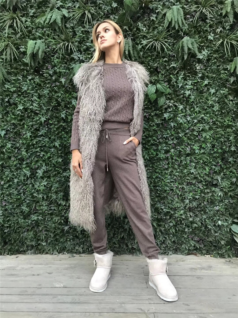 Mode Ensemble 2018 Laine Pleine Nouvelle Cachemire Tricoté Fil Chandail Pantalon Deux-pièce Survêtements Femmes Deux Pièces Haut et Pantalon