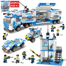 858Pcs City Police Command Vehicle Truck Building Blocks SWAT Creator Bricks Playmobil Toys for Children 8in1 swat city police truck building blocks sets ship helicopter vehicle creator bricks playmobil compatible with toys