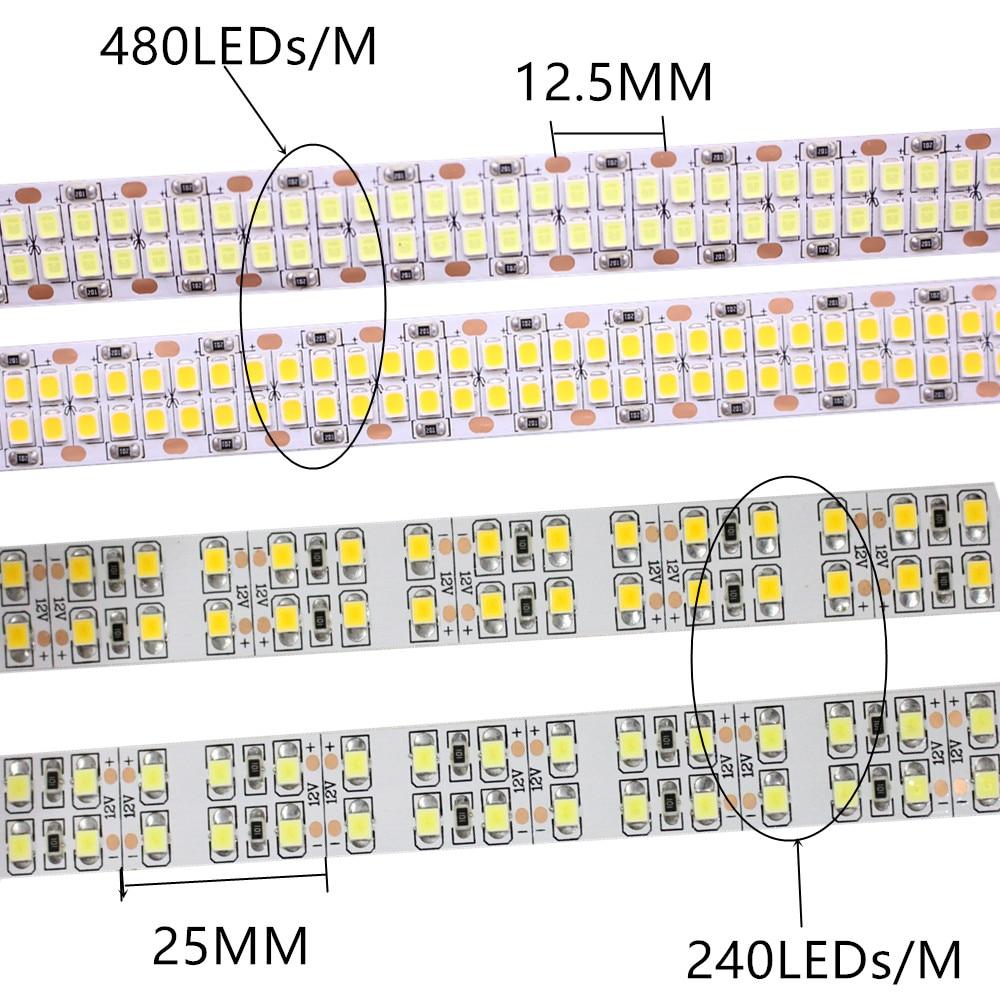 1//2//3//4//5M 240leds//m 480leds//M 12V 24V 2835 LED Strip Flexible tape light white