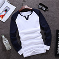 2016 Nueva Casual V Cuello Manche Longue Patchwork Camiseta de Algodón Tee Shirt Homme Col V Homme