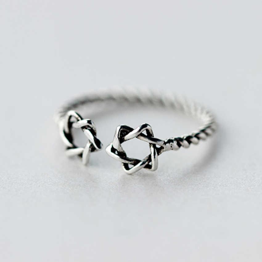 QIAMNI 925 стерлингового серебра прекрасный счастливый двойной звезды витой открытый кольцо для женщин девочек Рождественский подарок ювелирные изделия в стиле минимализма