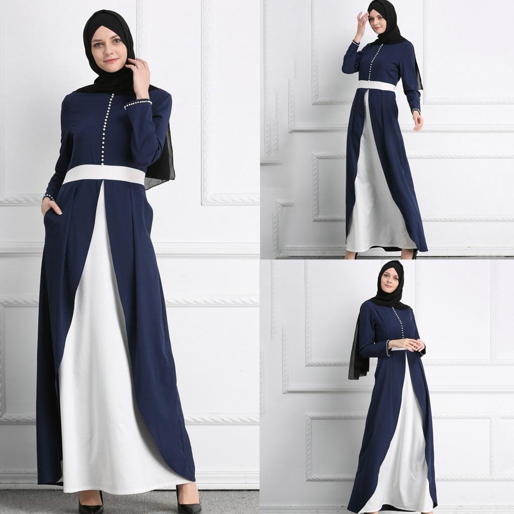 Mode islamique musulman arabe perle Maxi Robe nouvelle femme Abaya caftan longue bleu blanc couture longue Robe Jilbab L0315
