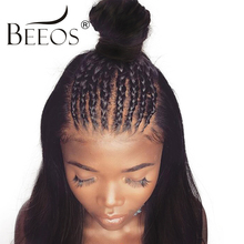 BEEOS 26 28 Full Lace Human Hair Wigs Glueless Brazilian Remy Hair Straight Wigs For Black