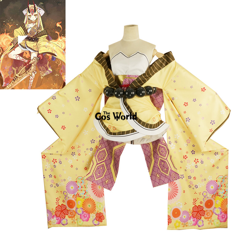 FGO Ibaraki Doji Fate Grand Order Tube Tops Dress Kimono Yukata Uniform Outfit Anime Cosplay Costumes