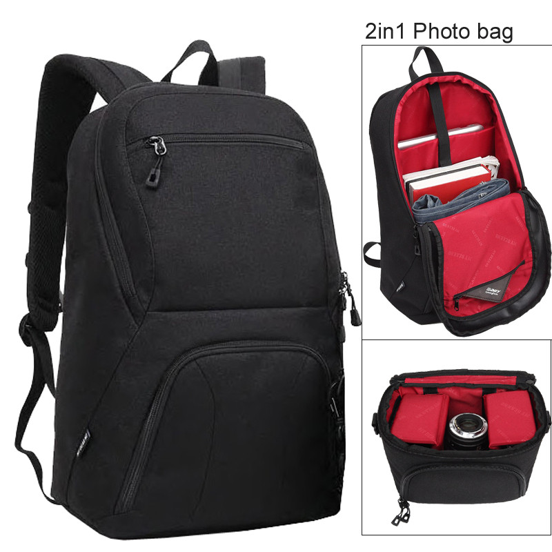 Black Large Capacity 2 in 1 Photo Camera Shoulders Padded Travel Waterproof Backpack Carrying Bag Video Tripod Laptop Case Bags new products 2016 black laptop camera back pack bag waterproof travel hiking camera backpack bags cd50