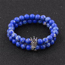 DUOVEI Royal Blue Onyx Beads King Queen Crown Bracelet For Couple 8mm Black Lava Natural Stone Beaded Bracelet For Men Women(China)