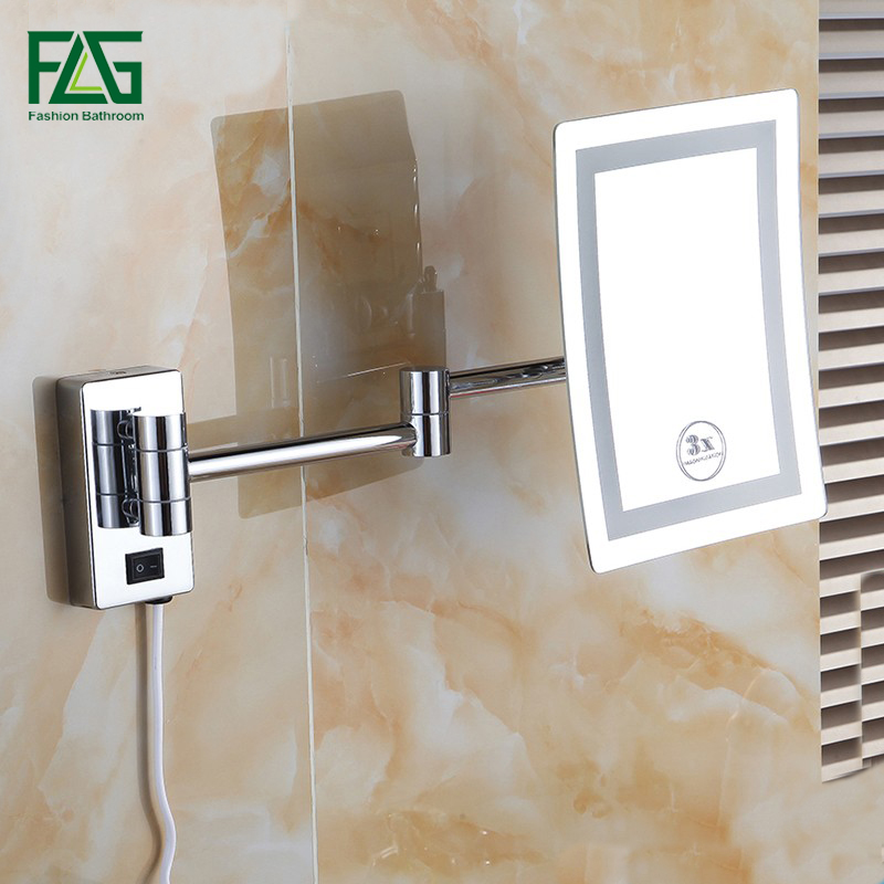 Makeup Mirrors LED Wall Mounted Extending Folding Single Side LED Light Mirror 3x Magnification Bath Mirror