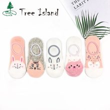 Cat and Rabbit Animal Cartoon women socks Pink and White Cotton Thin boat sock cand color Female ankle sock(China)