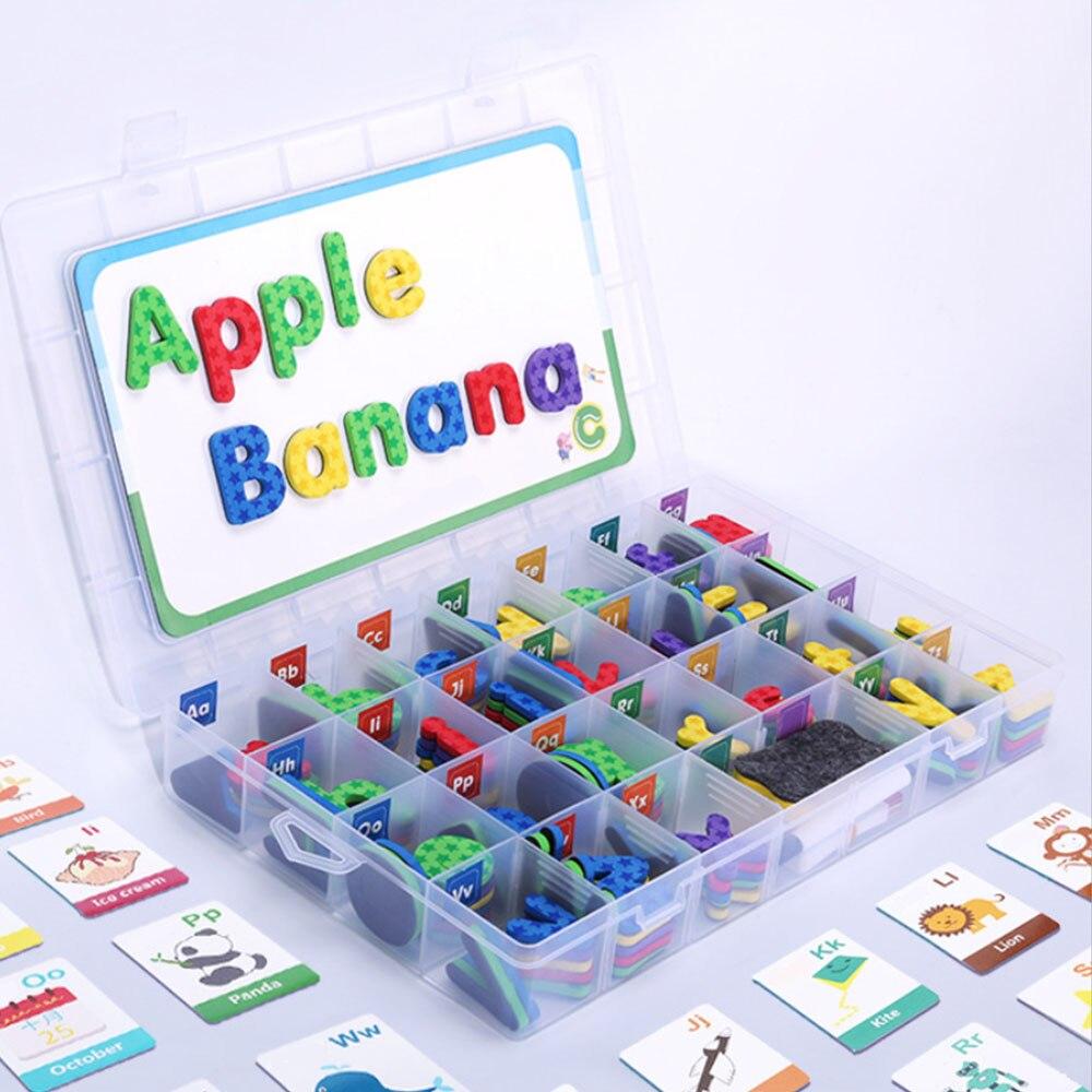 Nouveau Kit de lettres en mousse magnétique Alphabets de classe avec tableau magnétique pour enfants orthographe et apprentissage des jouets d'apprentissage des langues