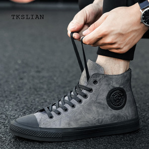 Image 5 - Classic High Tops sneakers mannen schoenen PU leer mode mannelijke enkellaarsjes grijs zwart flats effen kleur schoenen Mans schoeisel