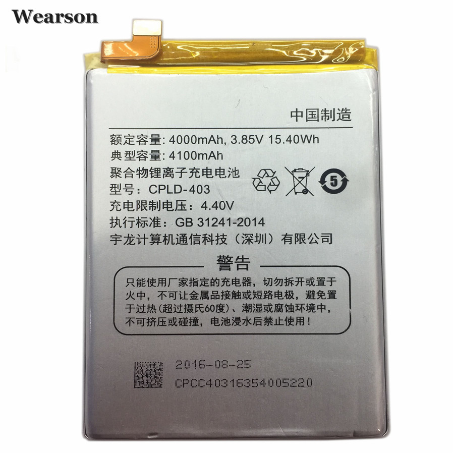 Wearson CPLD-403 Battery For Coolpad COOL1 Dual C106 C107 Battery Bateria Batterie Batterij 4100mAh Free Shipping to Russia