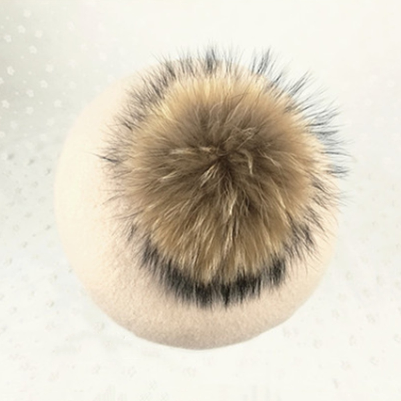 Winter Thick warm Raccoon fur pom pom knitted cashmere berets hats Winter girl's cap women casual wool berets caps
