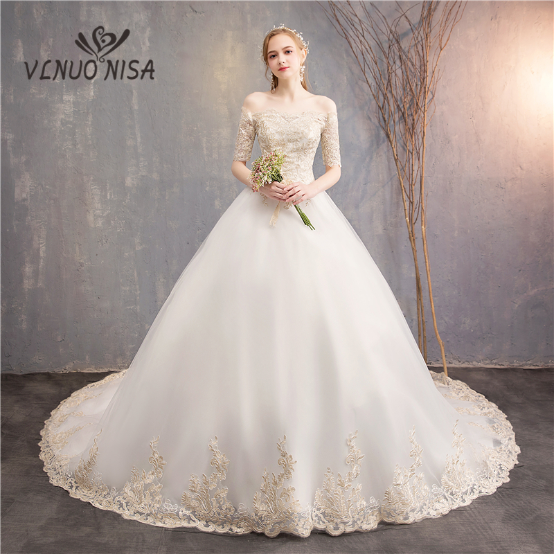 Vestido De Noiva VLNUO NISA Elegant Wedding Dress Boat Neck Backless  Lace Applique Puffy Ball Gown Bridal Dress Robe De Mariee