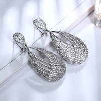 New Arrival Elegant Earrings Drop 18K Gold Platinum Plated Top Grade Cubic Zircon Crystal Bridal Dangle