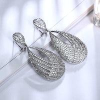 New Arrival Elegant Earrings Drop 18K Gold Platinum Plated Top Grade Cubic Zircon Crystal Bridal Dangle