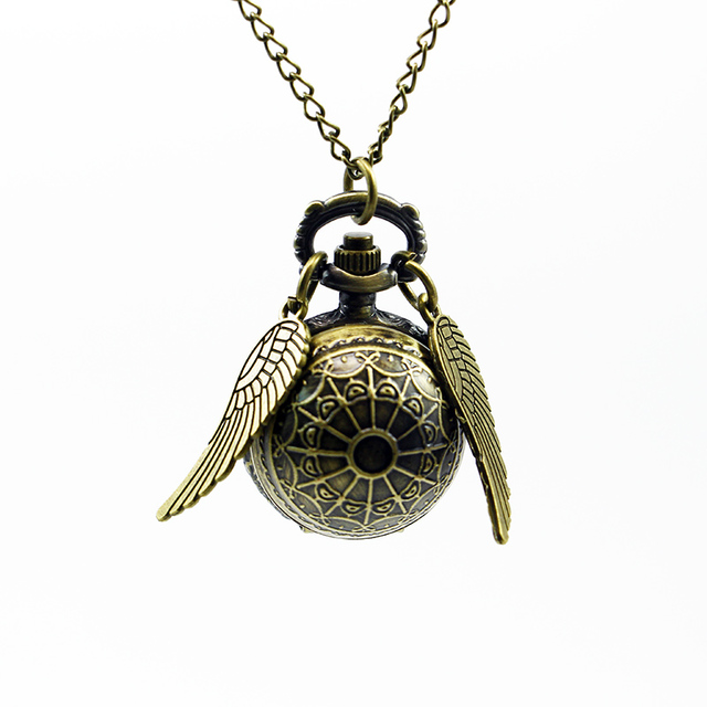 Retro Bronze Quidditch Web Ball Shape Wing Steampunk Pocket Watch Necklace Penda