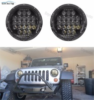 2pcs 7inch Round Black/Silver LED Motorcycle Headlight 75W Projector Headlamp for jeep wrangler