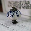 8pcs white and blue porcelain drawer cabinet knob pull antique dresser kitchen cabinet door handle ceramic knob