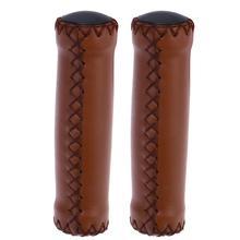 1 пара велосипедных ручек из искусственной кожи, мягкие резиновые велосипедные ручки для горного велосипеда(коричневый светильник