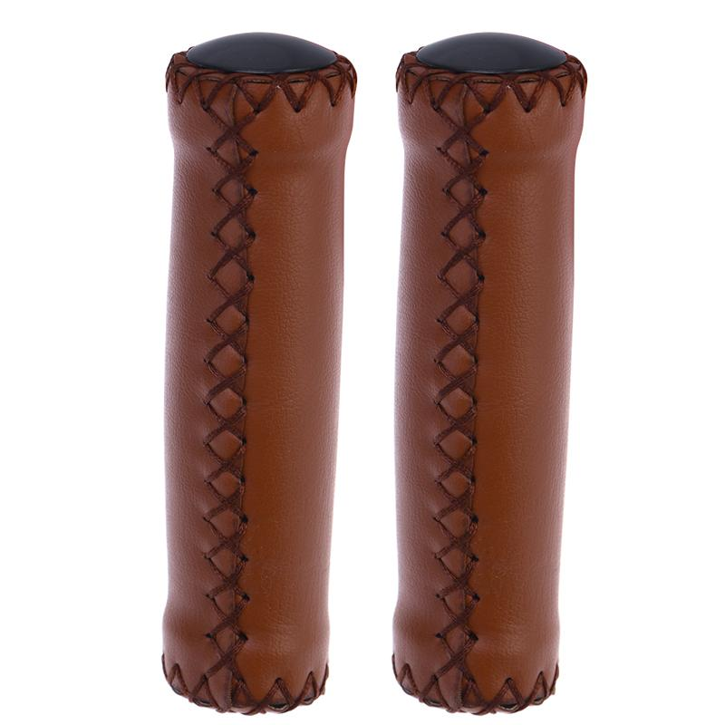1 Pair PU Leather Bicycle Handlebar Grips Scooter Handlebar Overgrip Brown