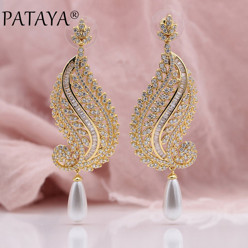PATAYA New White Shell Pearls Round Natural Zircon 585 Rose Gold Long Wave Stud Earrings Women Wedding Party Fine Noble Jewelry 18k rose gold women stud earrings double balls fine engaged wedding jewelry fashion female delicate gift hot sale trendy party