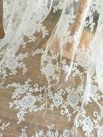 5 야드 점선 신부 Alencon의 레이스 직물 마당 아이보리 웨딩 드레스 신부 드레스 베일 의상 볼레로 보디