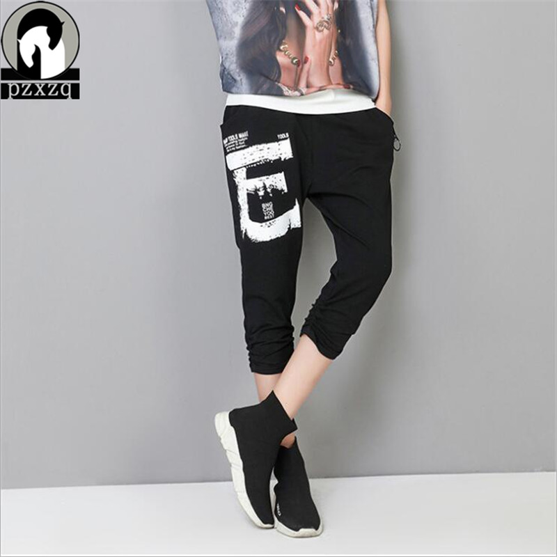 Summer Women   Capris     Pants   Letter Mesh Yarn Pocket Black   Pants   Elastic Waist Ladies Autumn Casual Korean Fashion Trousers Mujer
