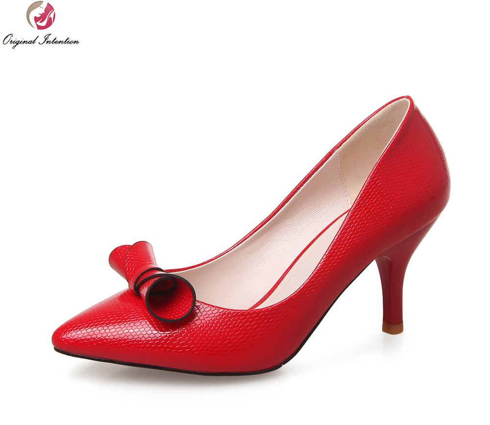 Original Intention Women Pumps Pointed Toe Spike Heels Party Pumps High-quality Black White Red Shoes Woman Plus Size 3.5-9 baoyafang white red tassels women wedding shoes bride 12cm 14cm high heels platform shoes woman high pumps female shoes