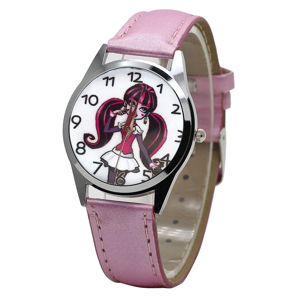 New Cartoon Children Watch Cute Beautiful girl Crystal Wristwatch Fashion Girls Kids leather Quarts Watches Sports Clock 2018