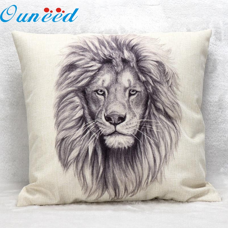 Lion Pattern Animal Cushion cover Linen vintage for Sofa Pillow cases Home Decor jan11