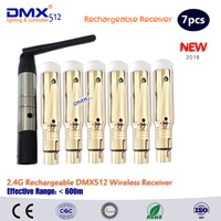 Precio DHL envío gratis 7 piezas venta al por mayor con la batería dentro de 2,4G DMX512 receptor inalámbrico DMX 512 controlador