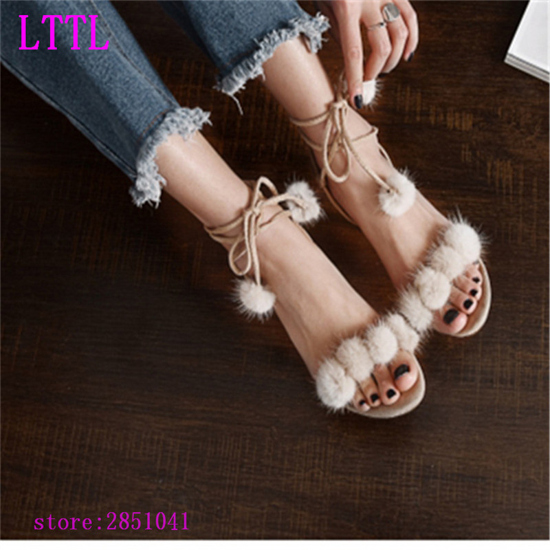 2017 Gladiator sandals Shoes Woman Pompon Lace Up high heels Sandals Shoes Roman Strappy Ankle Tassel Shoes Casual new design