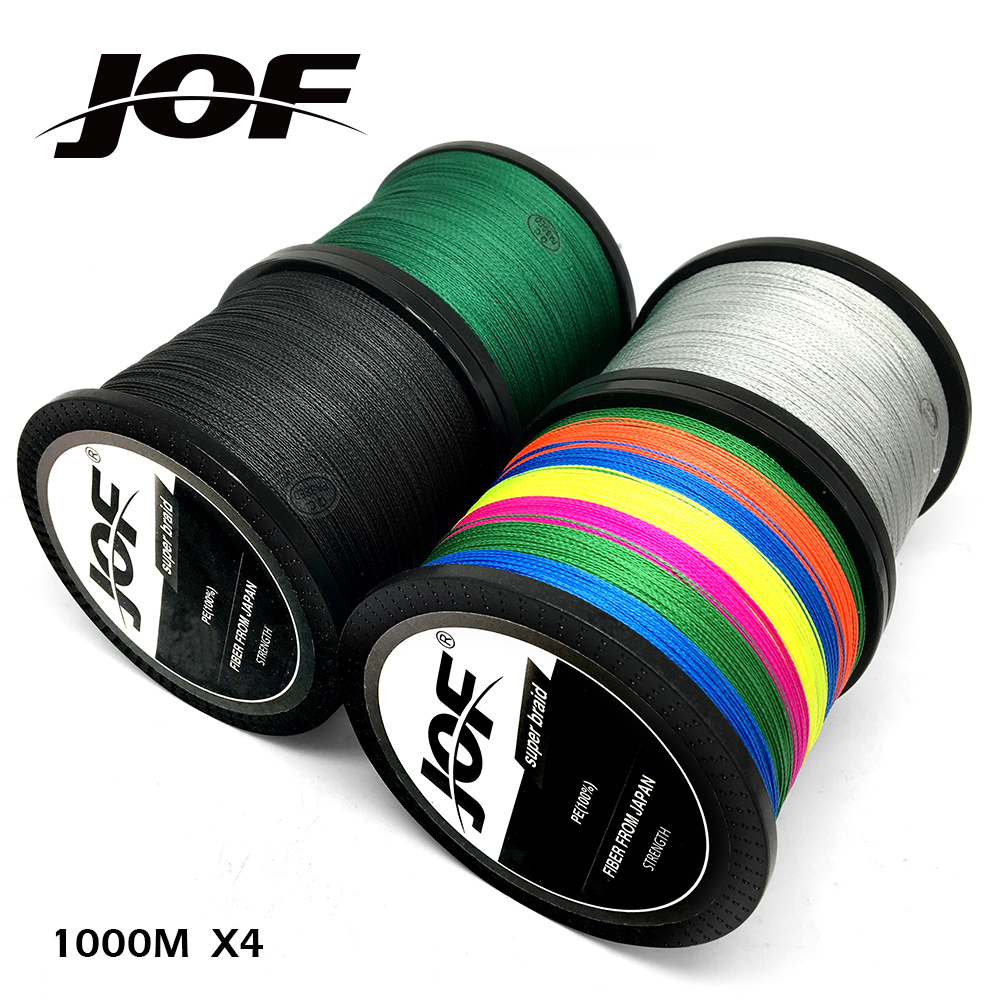 JOF Brand fishing line 1000M PE Multifilament Braided Fish Line 4 Strands 10lb-80lb Carp Fishing Rope Cord fishing tackle orient ut0h003b