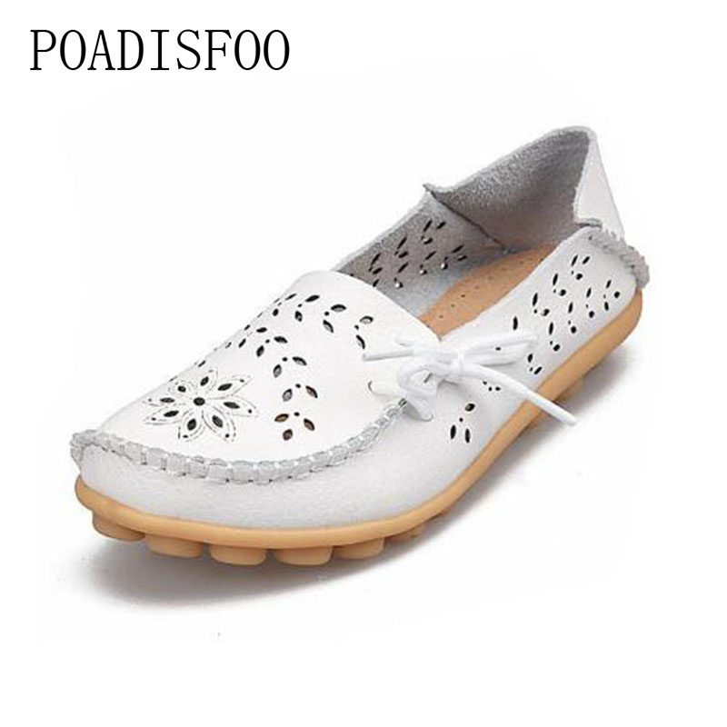 Woman leather flat shoes 2017 breathable light hollow casual fashion driving shoes spring summer woman shoes plus size.CQY-911-2