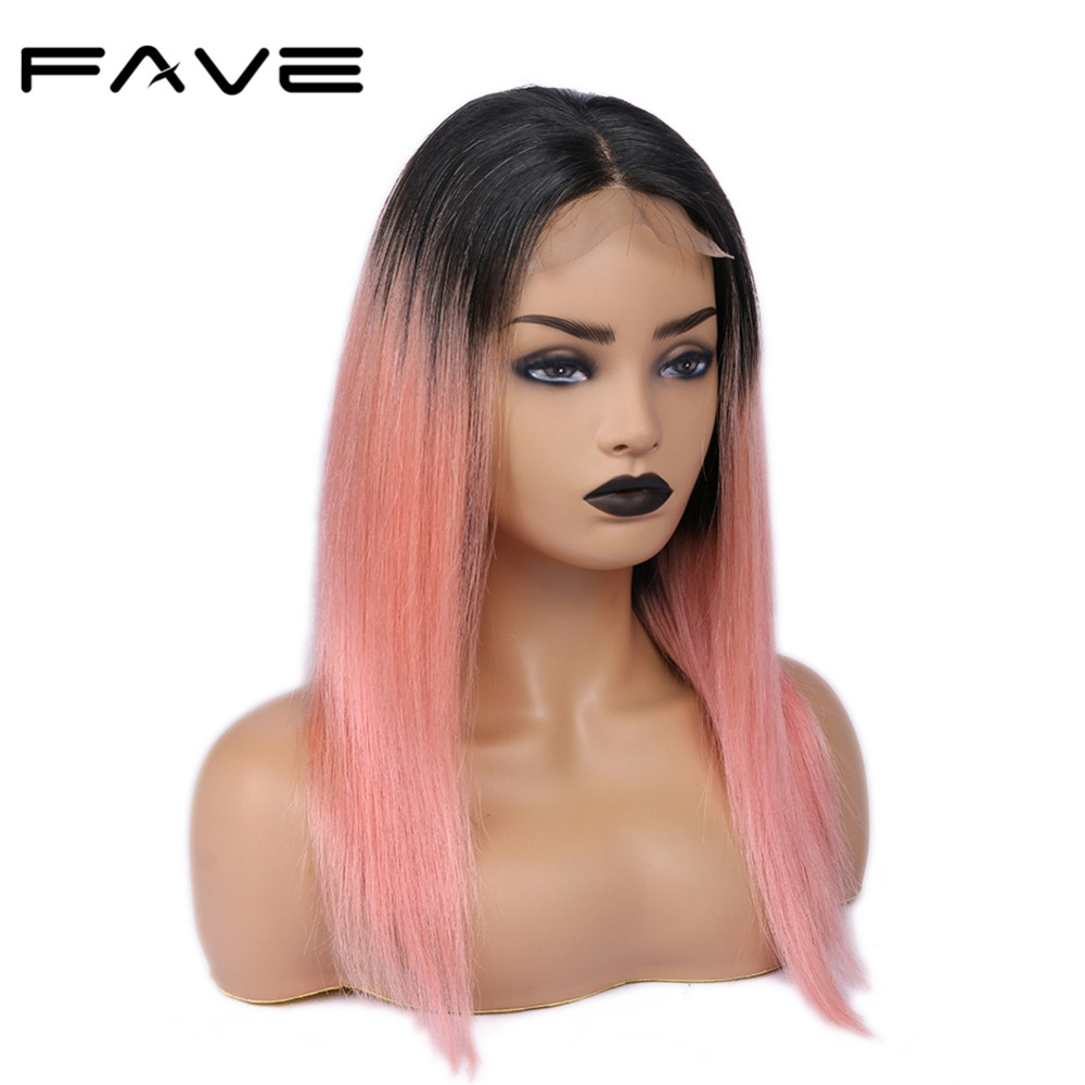 FAVE Hair 4*4 Lace Closure Ombre Wigs Brazilian Remy Straight Hair Wig 150% Density Pre Plucked Natural Hairline 1B/Pink Color