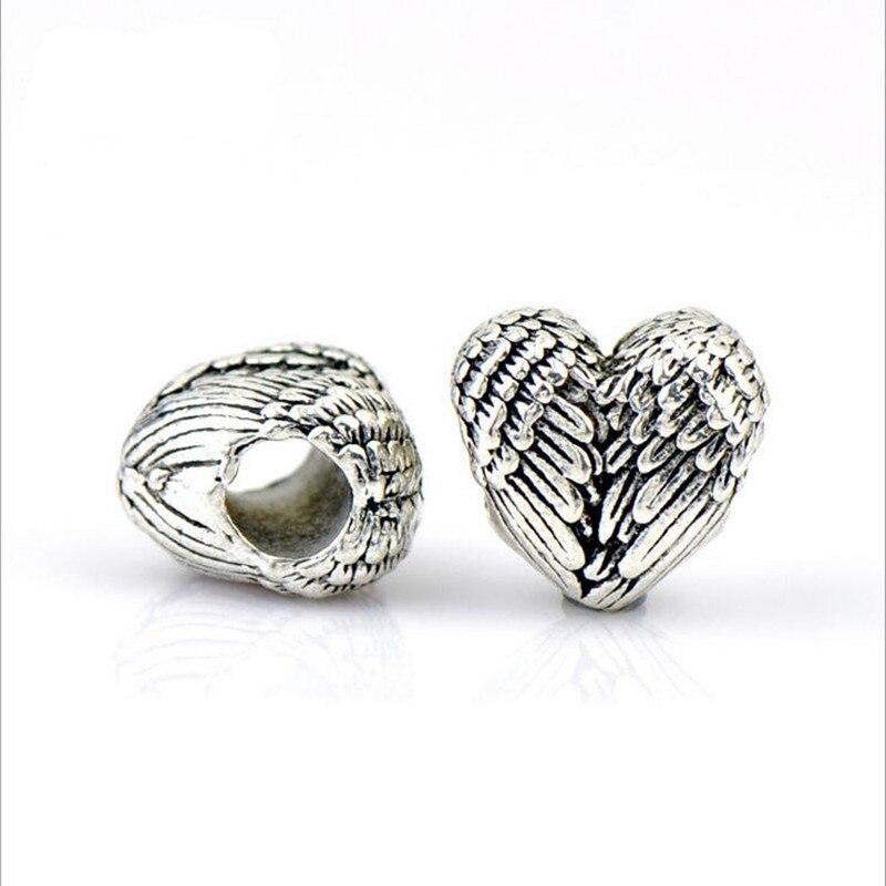10 Stücke Herz Engelsflügel Perlen Antik Silber-legierung Diy Großes Loch Metall Distanzscheiben-korn-passendes Charme Armband Halskette Schmuck Z540 Up-To-Date-Styling