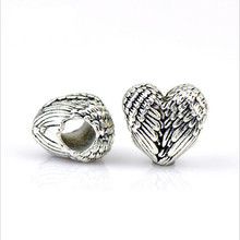 10pcs Antique Silver Heart Spacer Beads Big Hole European fit 6mm Leather Cord Charms Bracelet DIY Jewelry Making Z540
