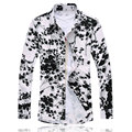 Elastic Plum Blossom Print Blouse Shirt Men Chemise Homme Large Size 7XL Fashion Trend Slim Fit Casual Camisa Masculina For Male