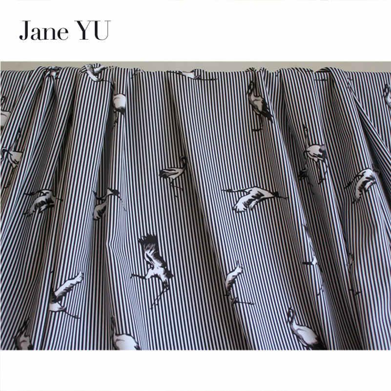 Jane YU Весна и лето новый темперамент кран полосатая шифоновая ткань с рисунком платье рубашка одежда ткань