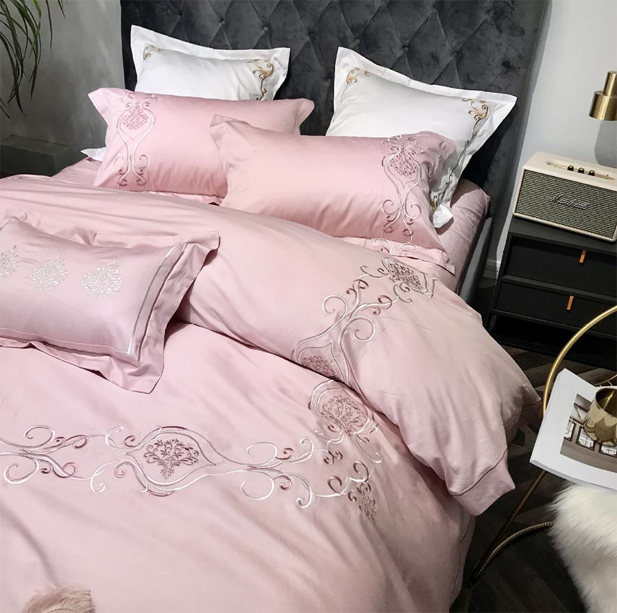 Elegant princess pink bedding set girl,full queen king cotton tribute silk double home textile bedsheet pillow case quilt cover